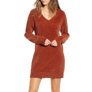 Nordstrom BP. Chenille Sweater Dress Rust Small